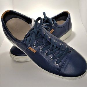 Ecco Men's Quality Blue Leather Sneaker Size 44